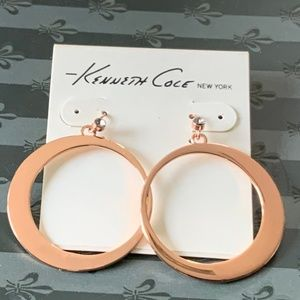 🆕 Kenneth Cole Rose Gold Hoop Earrings NWT